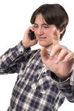 Teenage boy talking on mobile phone Royalty Free Stock Photography
