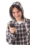 Teenage boy talking on mobile phone Royalty Free Stock Photos