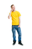 Teenage boy talking on the phone Stock Photos