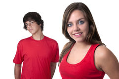 Teenage boy and teenage girl Stock Photo