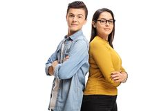 Teenage boy and a teenage girl stock images