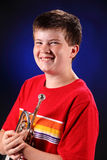 Teenage Boy With Trumpet Portrait Royalty Free Stock Image