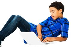 Teenage Boy Using Laptop Stock Images