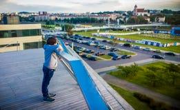 Teenage boy in Vilnius stock image