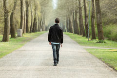 Teenage boy walking down a rural road. Teenage boy walking away from the camera down a rural road lined with trees on a misty cold day Royalty Free Stock Image