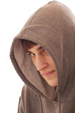 Teenage boy wearing hooded shirt Royalty Free Stock Photo