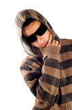 Teenage boy is wearing sunglasses and thinking. On white stock images