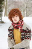 Teenage Boy Wearing Winter Clothes Royalty Free Stock Images