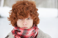 Teenage Boy Wearing Winter Clothes Stock Photography
