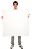 Teenage boy with white panel Royalty Free Stock Images
