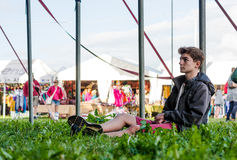 Teenage boy at Womad Festival Stock Image