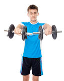 Teenage boy working out Royalty Free Stock Images