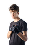 Teenage boy with workout glove Stock Photos