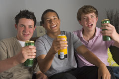 Teenage Boys Drinking Beer royalty free stock image