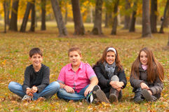 Teenage boys and girls having fun in the nature Stock Image