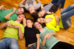 Teenage boys and girls laughing Stock Images