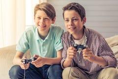 Teenage boys at home Royalty Free Stock Photos
