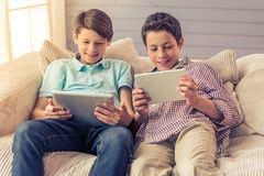 Teenage boys at home Stock Images
