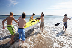 Teenage boys kayaking Stock Photos
