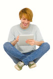 Teenage boys using tablet Stock Image