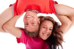 Teenage brother and sister Royalty Free Stock Image