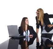Teenage business girls working on black table Stock Image