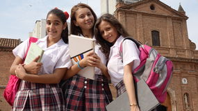 Teenage Catholic School Girls Stock Photo