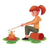 Teenage Caucasian girl frying marshmallow on fire, camping, hiking concept. Cartoon vector illustration isolated on white background. Girl scout, tourist Royalty Free Stock Images