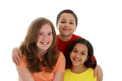 Teenage Children On White Background Royalty Free Stock Photography