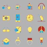 Teenage color icons on gray background Stock Image