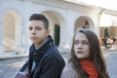 Teenage conflict. Conflict in a relationship a couple of teenagers Royalty Free Stock Photo