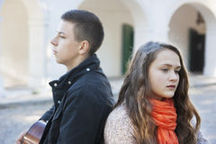 Teenage conflict. Conflict in a relationship a couple of teenagers stock photo