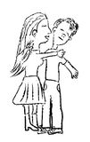 Teenage couple. Drawing of a girl trying to kiss a boy as he moves away from her Stock Images