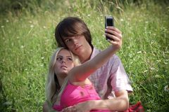 Teenage couple royalty free stock photo