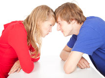 Teenage couple is arguing, fights Royalty Free Stock Image