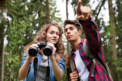 Teenage couple hiking in forest. Summer vacation. Teenage couple with binoculars hiking in forest. Summer vacation adventure Royalty Free Stock Images