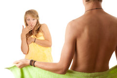 Teenage couple in bright towels Stock Photography