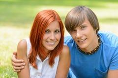 Teenage couple enjoy summer day smiling Royalty Free Stock Image