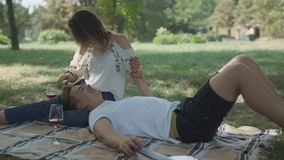 Teenage couple have picnic at the park. Couple having picnic at the park. Lovers drink alcohol and relax together. The girl brushes hair of the partner. Man is stock video