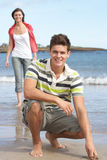 Teenage Couple Having Fun On Beach Royalty Free Stock Image
