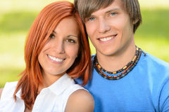 Teenage couple in love smiling sunny day Royalty Free Stock Images
