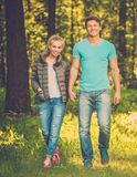 Teenage couple outdoors Stock Photos