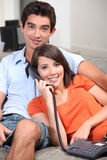 Teenage couple on the phone Stock Photography