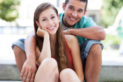 Teenage couple smiling Royalty Free Stock Photo