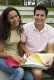 Teenage couple (17-19) studying together, looking at notes, smiling, portrait royalty free stock photography
