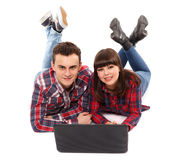 Teenage couple studying together Royalty Free Stock Photography