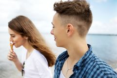 Teenage couple at seaside Royalty Free Stock Photo