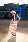 Teenage Cowgirl Curtsy Royalty Free Stock Photography