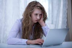 Teenage cyberstalker victim Royalty Free Stock Image