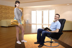 Teenage Daughter Saying Bye to Father. Teenage daughter leaving single father to go out during the day Royalty Free Stock Image